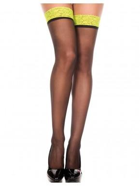 Bas voile noirs autofixants jarretières dentelle jaunes - MH4106BNY