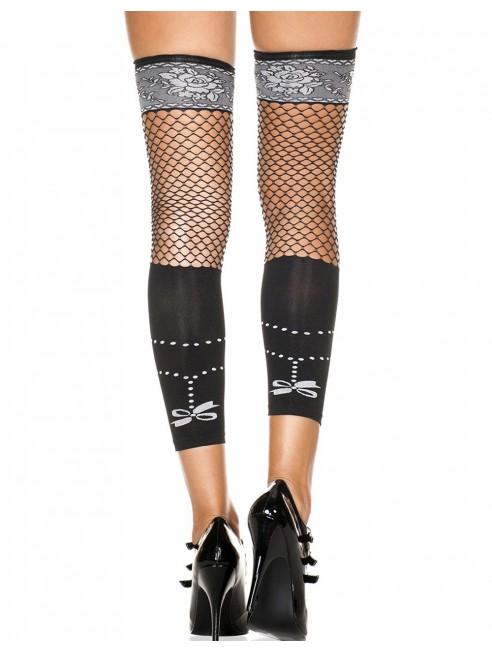Grossiste dropshipping Bas autofixants noirs sans pied opaques et résille avec motifs imprimés