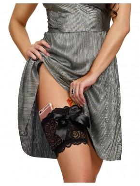 Grossiste lingerie Jarretière noire dentelle avec 2 poches pour carte bancaire et téléphone portable