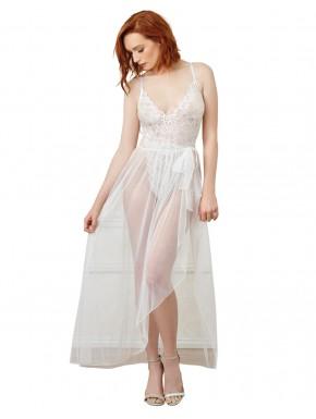 Body string blanc échancré dentelle avec jupe de maille transparente amovible - DG10996WHT