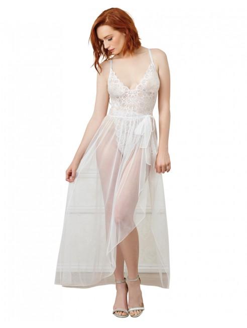 Grossiste lingerie Body string blanc échancré dentelle avec jupe de maille transparente amovible
