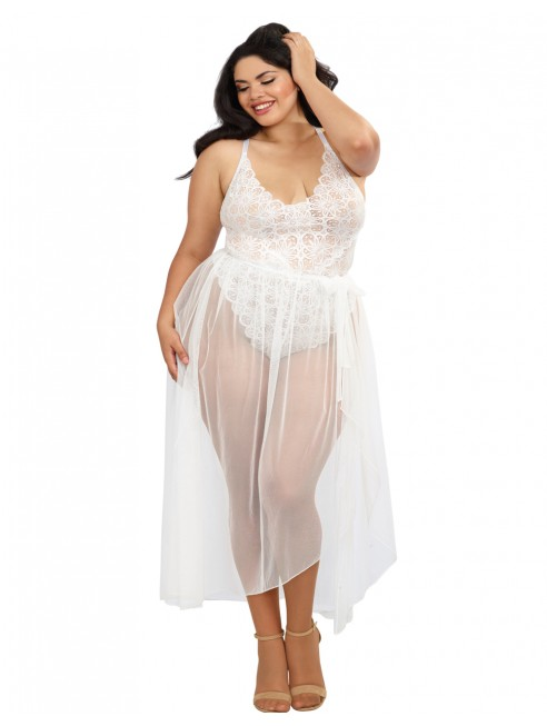 Grossiste Body string grande taille blanc échancré dentelle avec jupe de maille transparente amovible