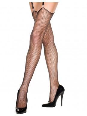 Grossiste lingerie Bas fine résille noirs pour porte-jarretelles