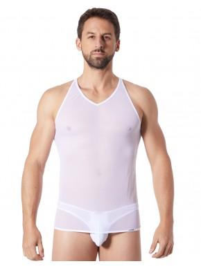V-shirt blanc fine maille avec transparence - LM92-76WHT