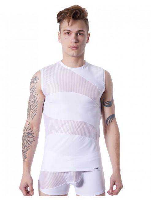 Fournisseur lingerie LookMe homme T-shirt débardeur blanc col rond opaque et transparent avec fines rayures