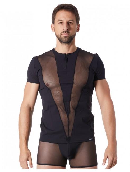 Grossiste Look Me dropshipping T-Shirt noir doux avec bandes résille col rong et zip
