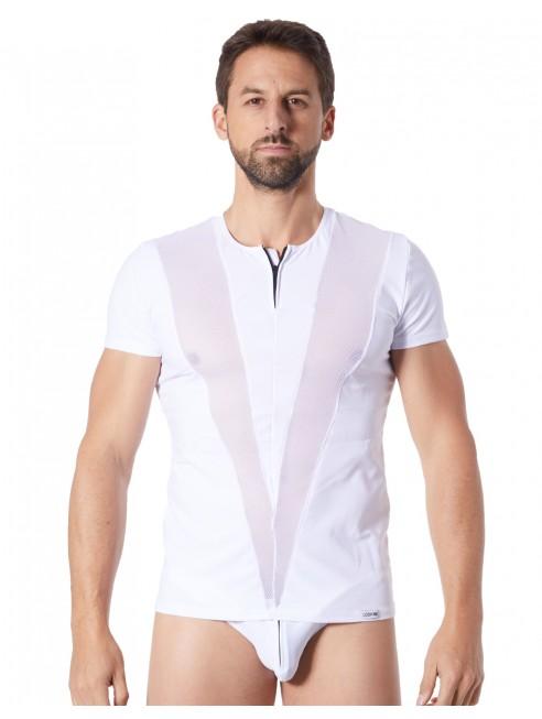 Fournisseur lingerie Look Me T-Shirt blanc doux avec bandes résille col rond et zip
