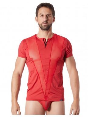 T-Shirt rouge doux avec bandes résille col rond et zip - LM805-81RED
