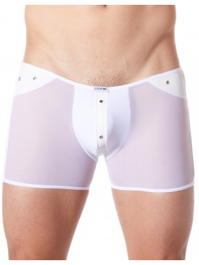 Fournisseur lingerie homme dropshipping Boxer blanc sexy maille transparente et bande style cuir