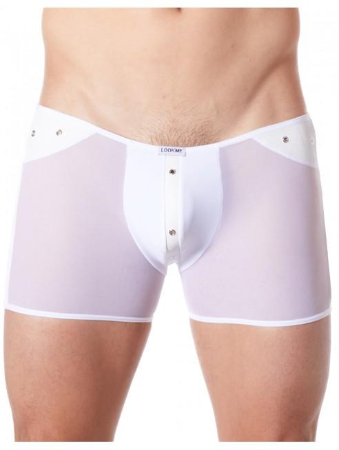 Fournisseur lingerie homme dropshipping Boxer blanc sexy maille transparente et bande style cuir
