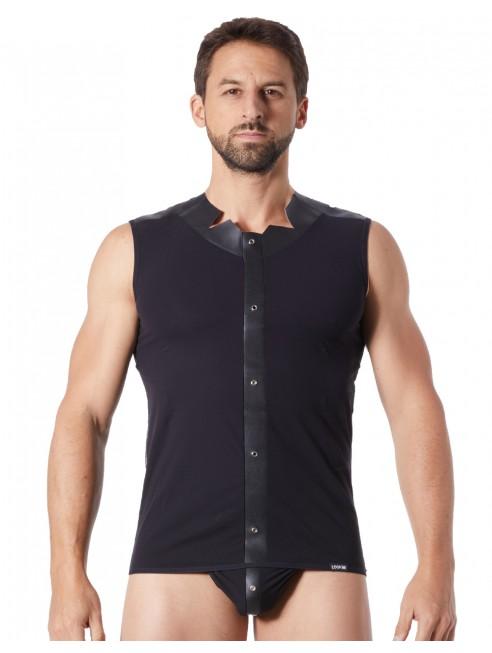 Grossiste lingerie sexy homme V-shirt débardeur noir satiné avec bandes style cuir et dos avec transparence