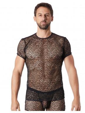 T-shirt noir sexy filet irrégulier fétichiste - LM810-77BLK