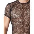 Fournisseur Look Me lingerie masculine T-shirt noir sexy filet irrégulier fétichiste