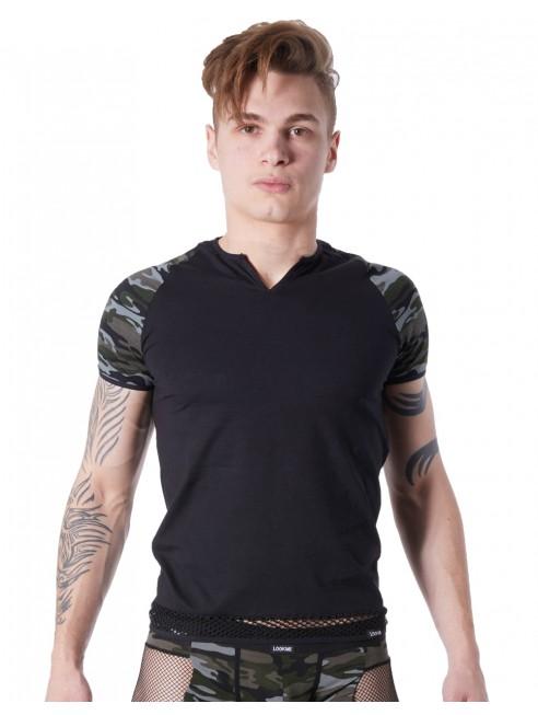 Grossiste sous-vêtement homme T-shirt noir sexy armée déco camouflage sur les manches et col rond ouvert