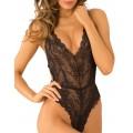 Fournisseur lingerie dropshipping Body string noir échancré en dentelle