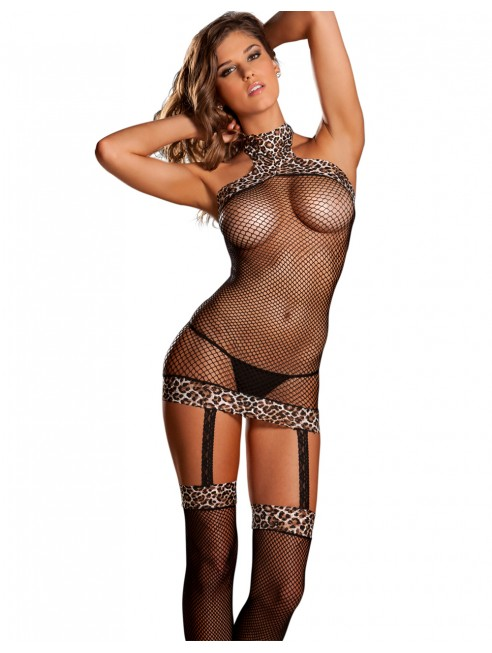 Fournisseur lingerie dropshipping sexy Bodystocking résille filet noir effet bas jarretelles bordures léopard