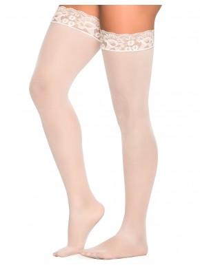 Grossiste lingerie Mapalé Bas nylon blancs autofixants jarretières dentelle