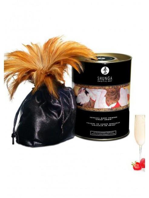 Distributeur Shunga Poudre de massage corporelle comestible vin pétillant fraise 228grs