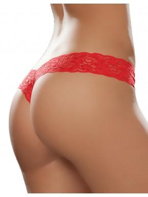 Fournisseur lingerie dropshipping String brésilien rouge en dentelle