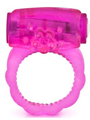 Cockring rose vibrant avec stimulation du clitoris - CC570041