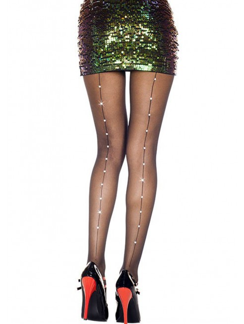 Grossiste lingerie sexy Collant nylon noir effet couture et strass