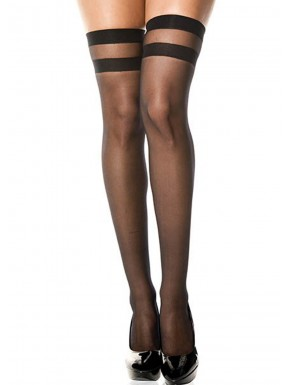 Grossiste lingerie Bas noirs semi-opaques autofixants double jarretières