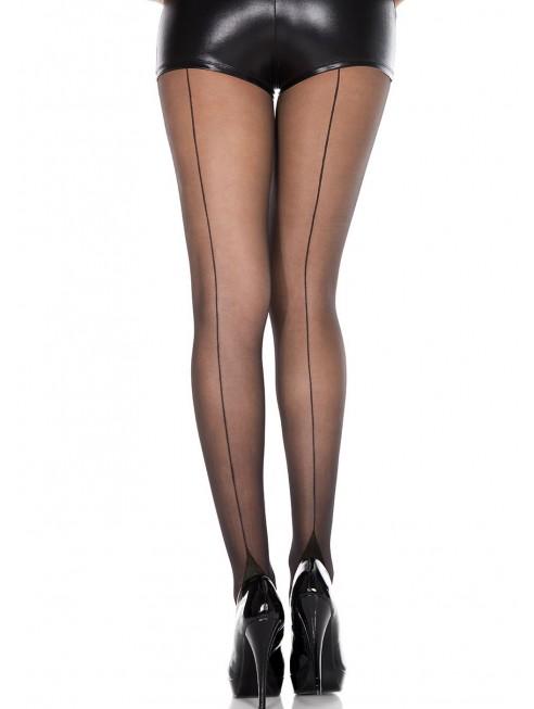 Fournisseur Collant nylon fantaisie noir effet couture
