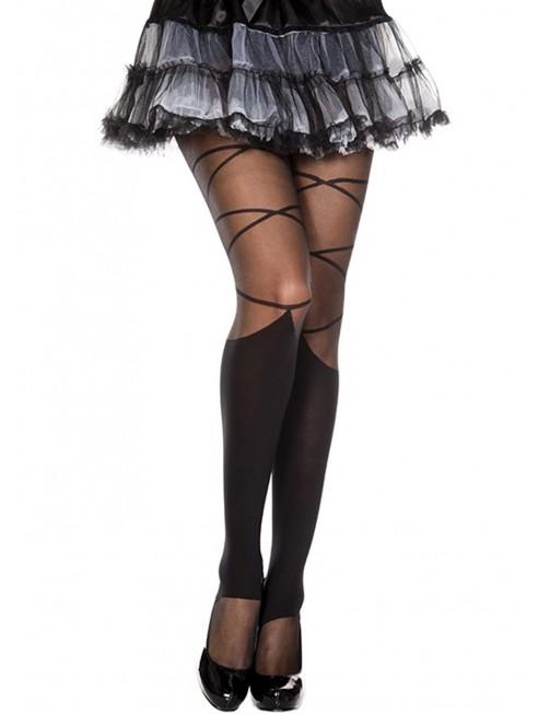 Fournisseur Collant nylon fantaisie noir effet jambières et lacets