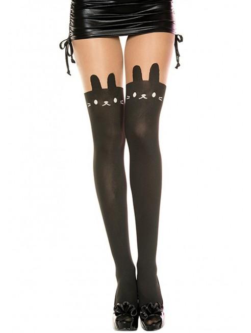 Fournisseur Collant nylon fantaisie opaque noir tête de lapin