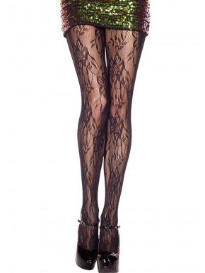 Fournisseur Music Legs Collant nylon noir résille fleurie