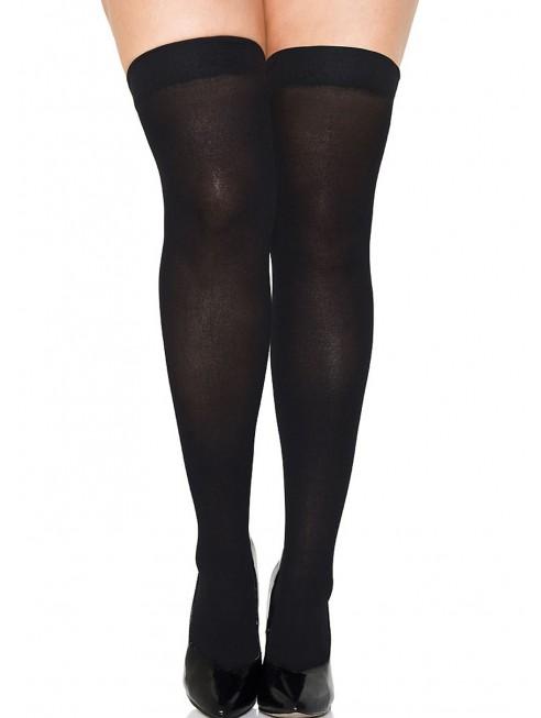 Grossiste Bas autofixants grande taille noirs opaques fantaisie