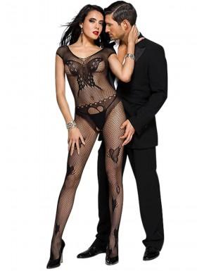 Fournisseur lingerie Bodystocking noir résille motif papillons