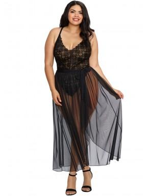 Fournisseur dropshipping Body string noir grande taille échancré dentelle avec jupe de maille transparente amovible