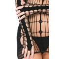 Grossiste Pink Lipstick Robe noire libertine filet accroches doigts