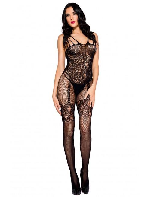 Fournisseur lingerie sexy Bodystocking noir effet body jarretelles dentelle résille avec multiples bretelles
