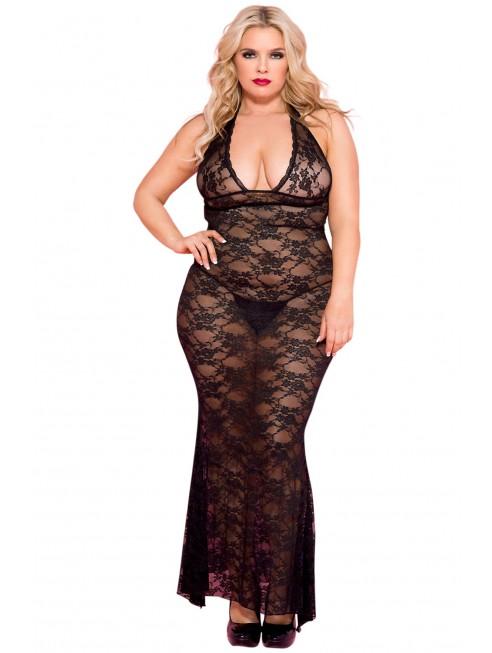 Grossiste lingerie grande taille Nuisette femme ronde longue noire décolletée dentelle florale