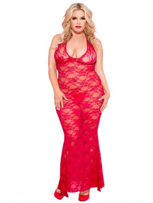 Fournisseur lingerie dropshipping Nuisette grande taille longue rouge décolletée dentelle florale