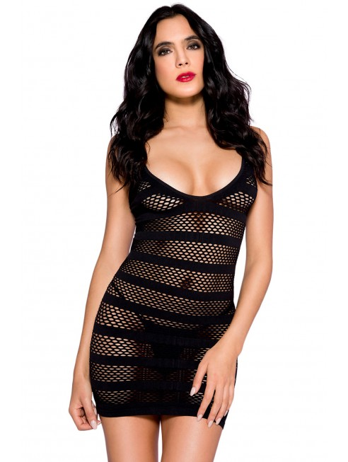 Grossiste lingerie libertine Robe courte sexy noir à bandes et ajourée résille