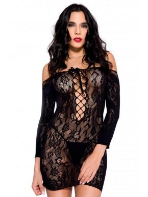 Grosiste lingerie dropshipping Robe sexy noire dentelle épaules nues et décolleté avec laçage