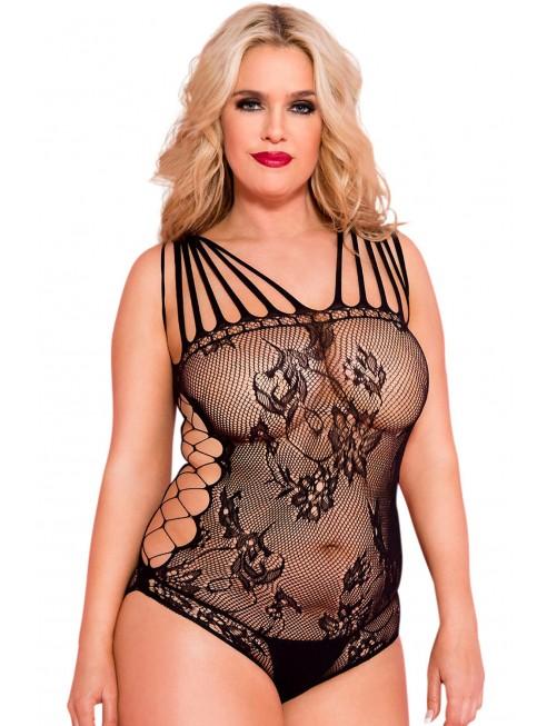 Grossiste lingerie dropshipping Body noir grande taille résille ajouré multi-bretelles