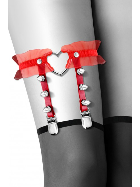 Fournisseur Bijoux Pour Toi Jarretière rouge avec coeur pointes et tulle