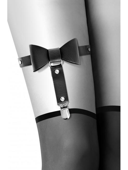 Grossiste dropshipping Bijoux Pour Toi Jarretière noire style cuir noeud papillon