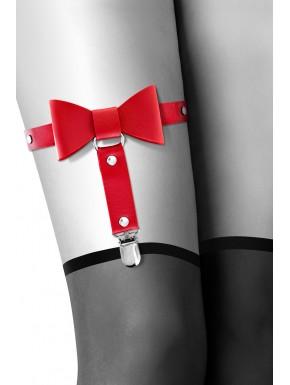 Grossiste Bijoux Pour Toi Jarretière rouge style cuir noeud papillon