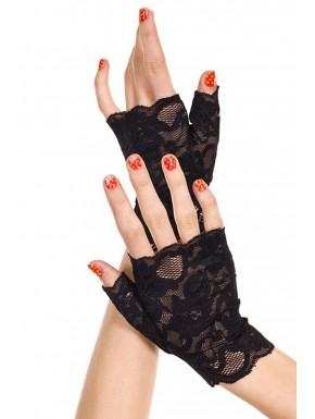 Fournisseur Gants noirs doigts ouverts dentelle florale