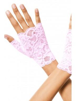 Grossiste Gants roses doigts ouverts dentelle florale