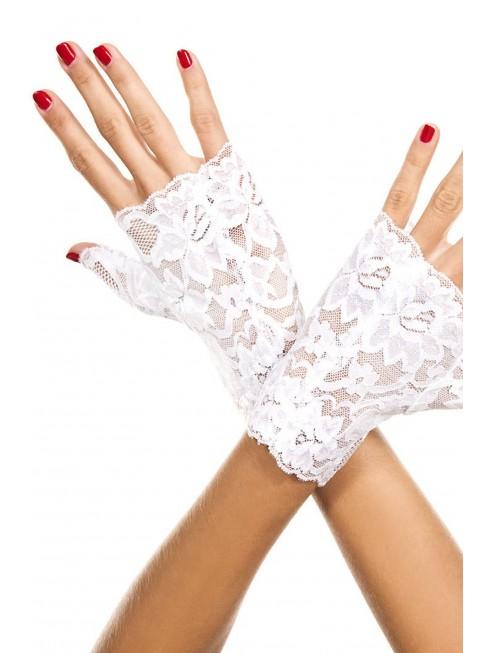 Fournisseur Music Legs Gants blancs doigts ouverts dentelle florale