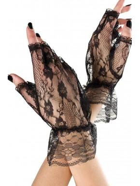 Fournisseur Music Legs Gants ouverts noirs dentelle résille et volants sur les poignets