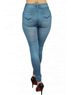 Legging bleu style jean moulant avec impressions sur poches - FD1018