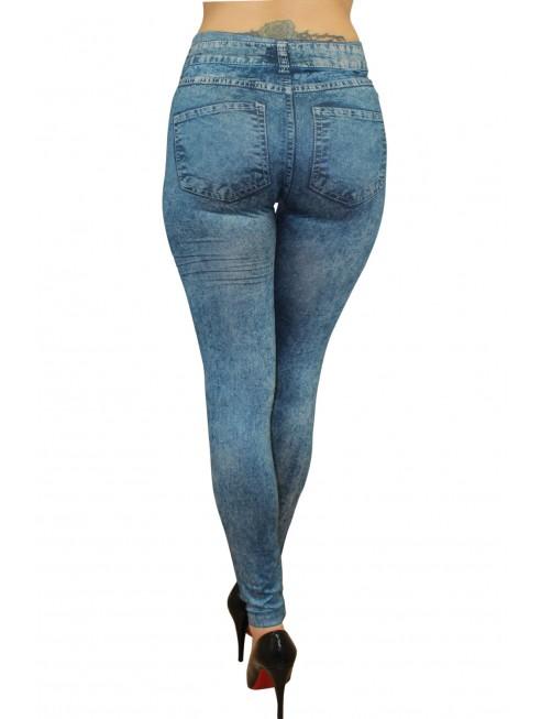 grossiste mode Legging bleu effet jean délavé
