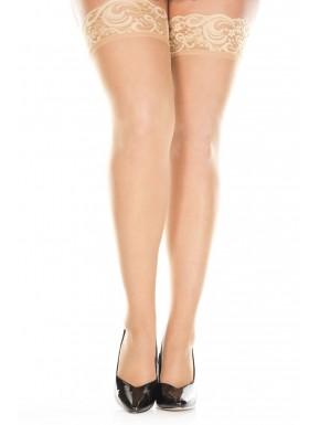 Bas nylon chair grande taille jarretières dentelle florale - MH4139XNUD